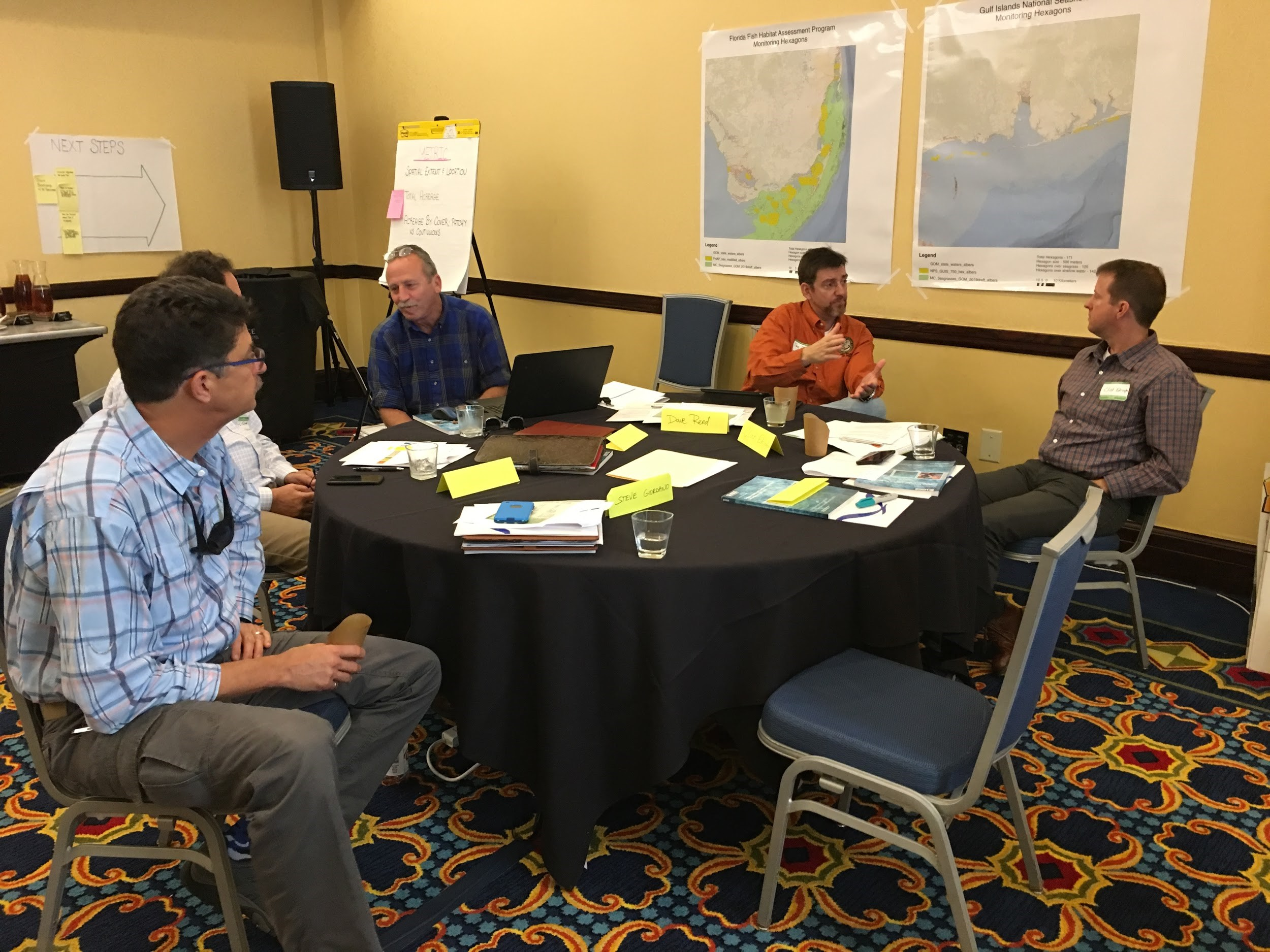 group of seated people discussing around a round table at Mobile Bay Seagrass Monitoring /Alabama Pilot Project Workshop