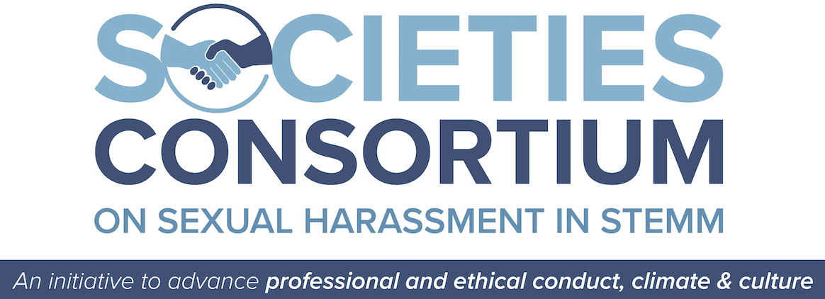 Societies Consortium on Sexual Harassment in STEMM logo with shaking hands