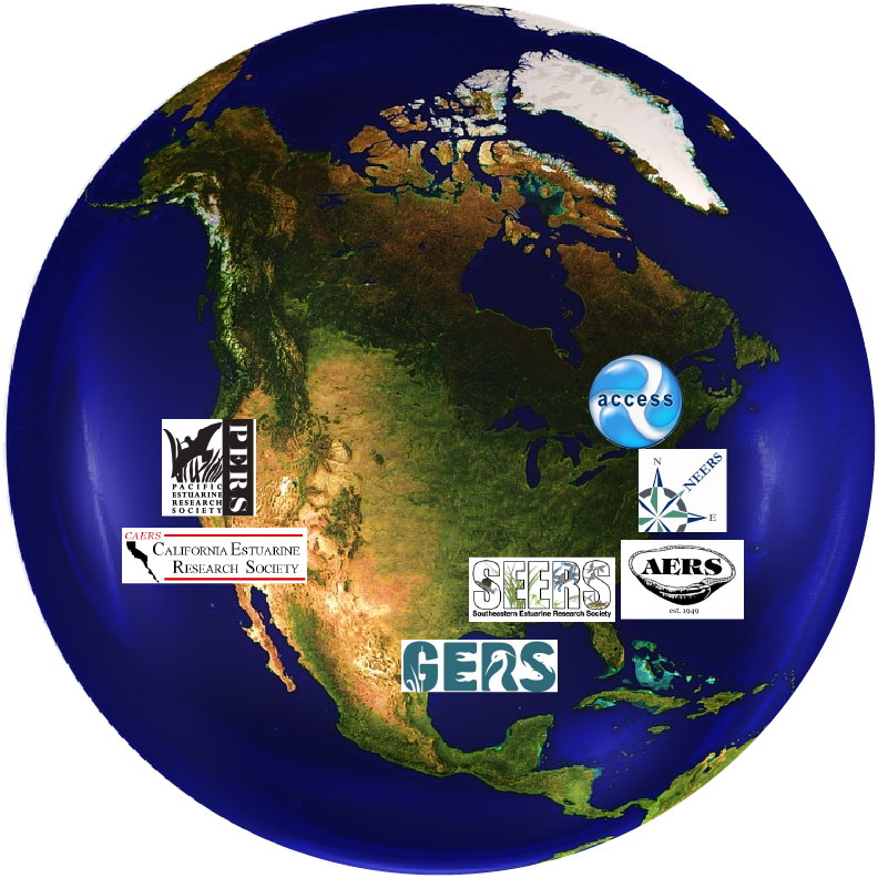 Map with regional affiliate societies' logos